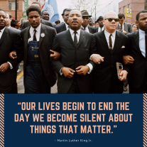 """""""Our lives begin to end the day we become silent about things that matter."""""""